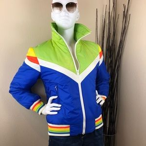 Vintage 80s Multicolor Rainbow Puffer Coat
